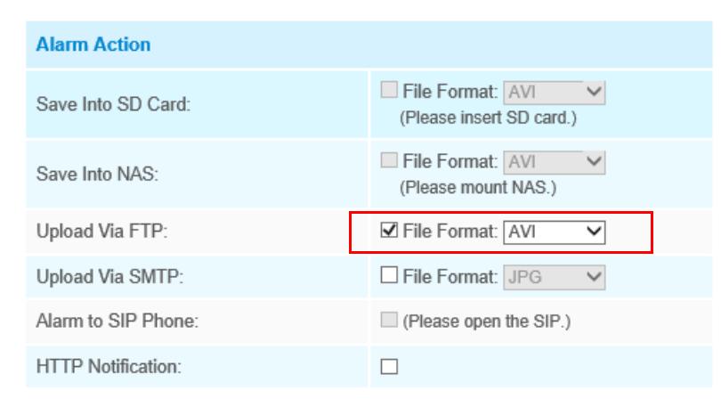FTP Application in Alarm