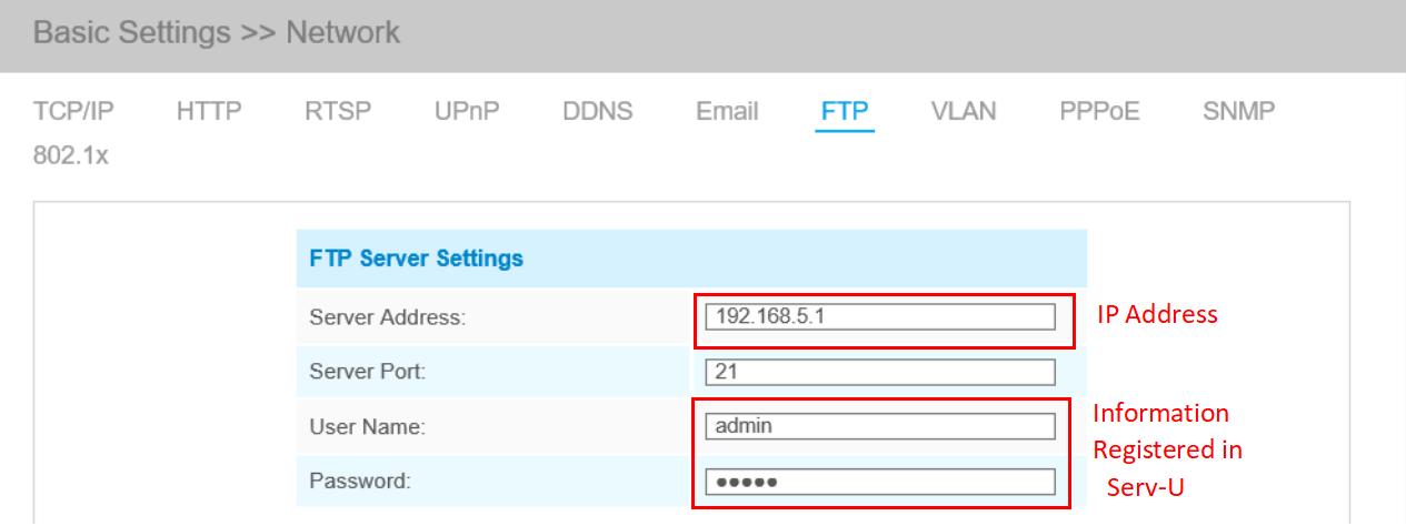 FTP settings on camera