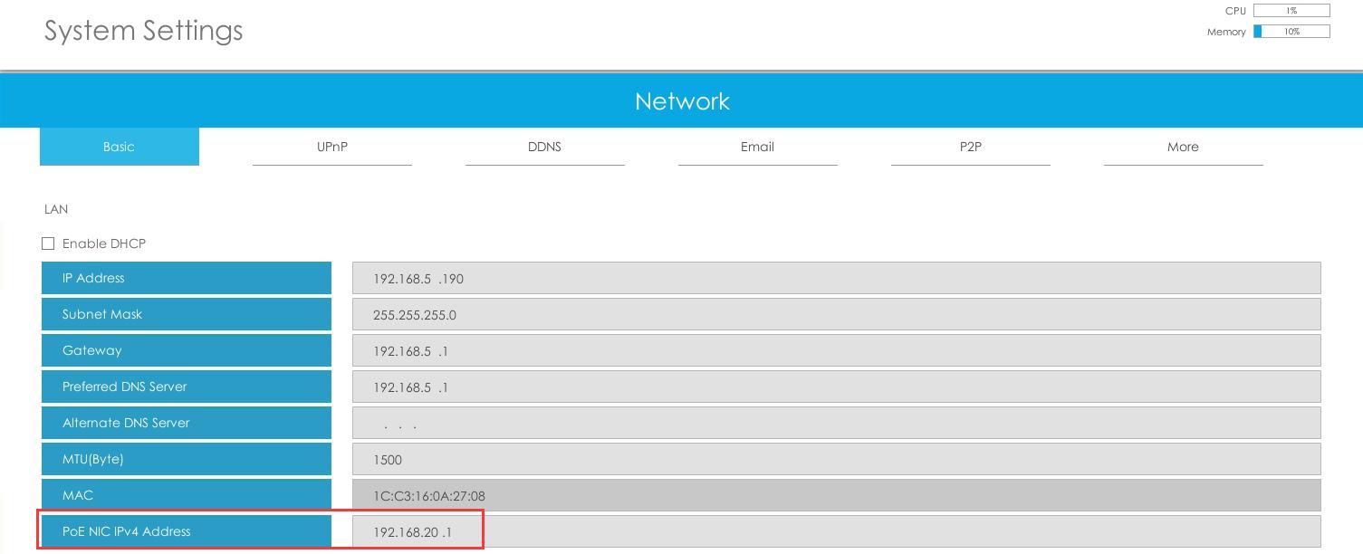 PoE NIC IPv4 Address